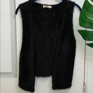 MOLLY BRACKEN Shaggy Black Vest